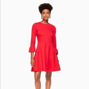 Kate Spade Ponte Fit and Flare Dress in Charm Red
